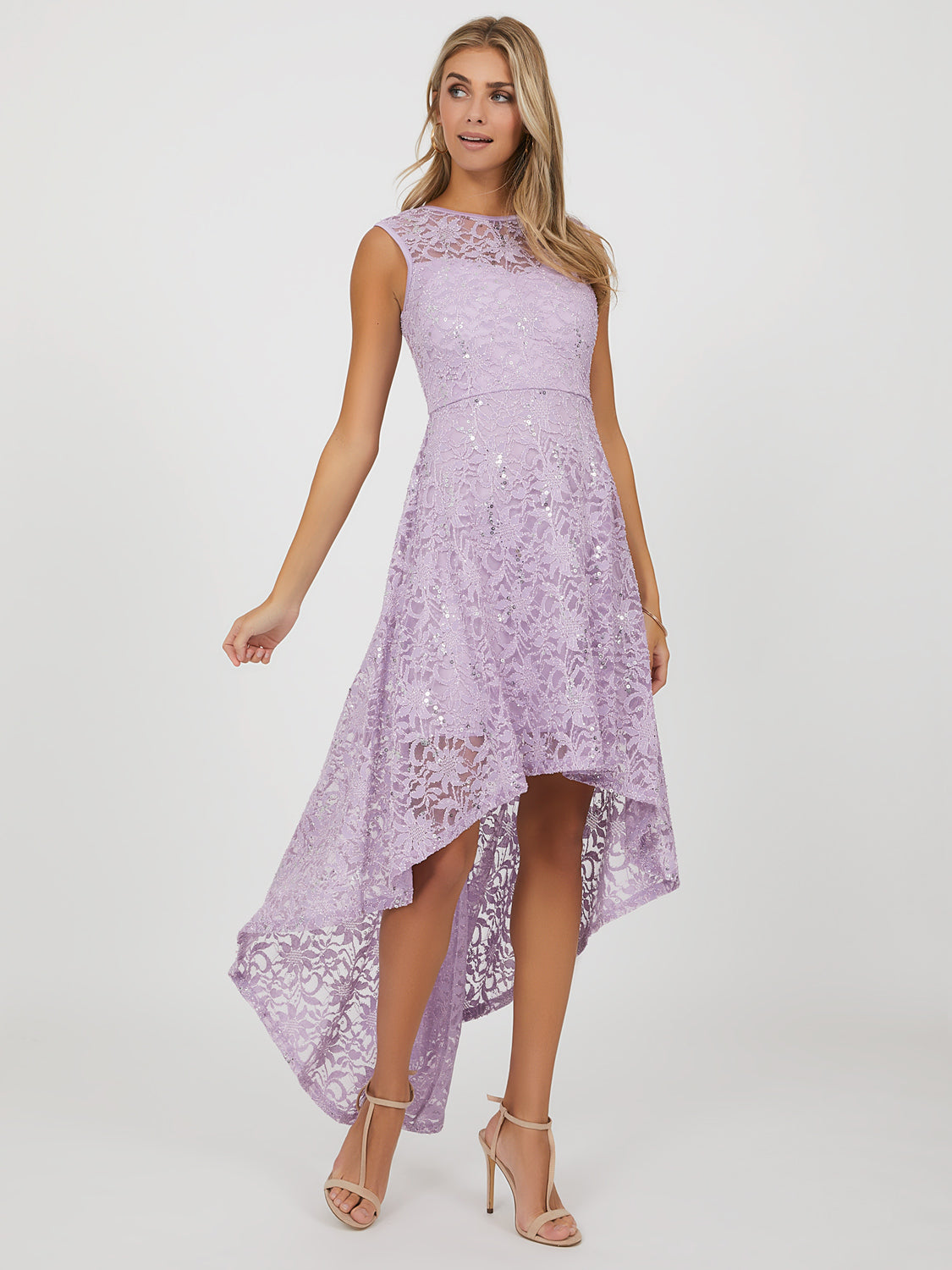 High-Low Sequins & Lace Dress