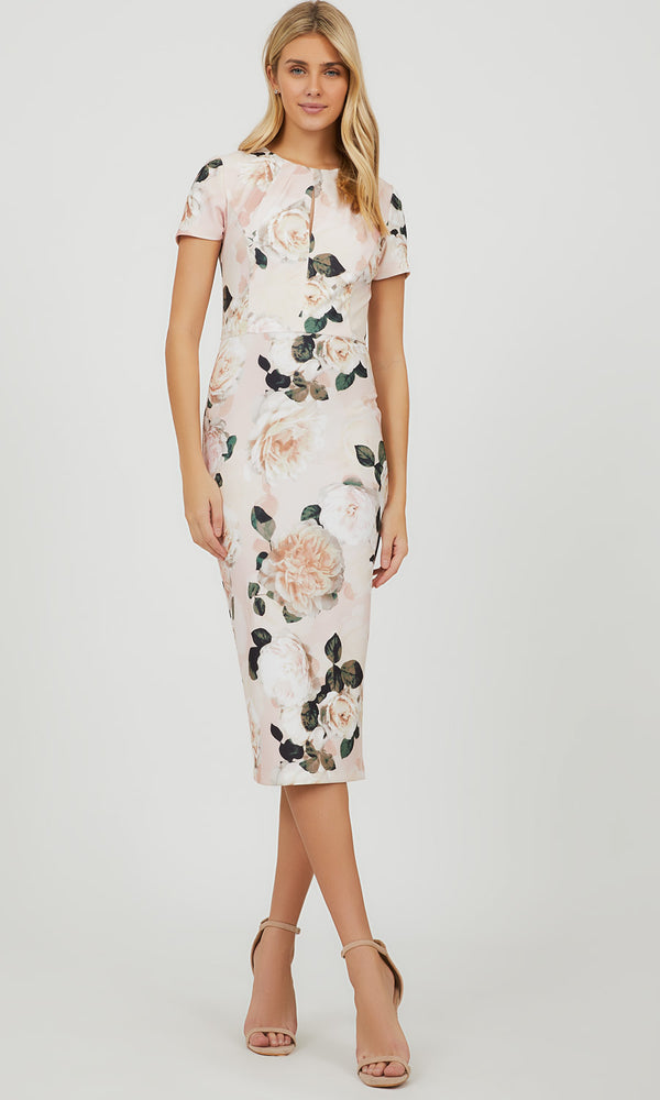 Floral Sheath Knit Midi Dress