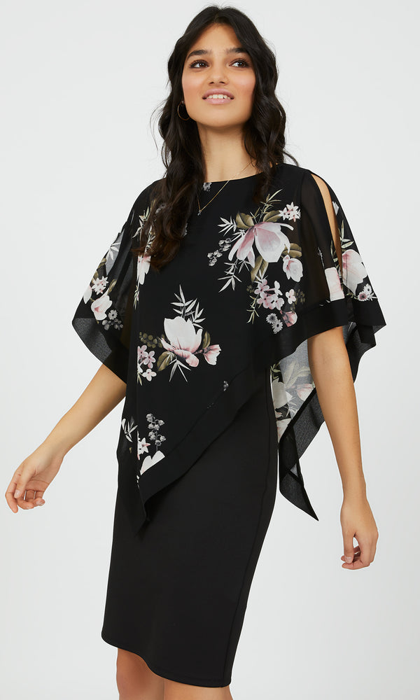 Floral Chiffon Scuba Sheath Dress