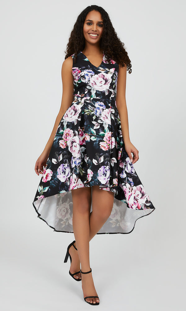 Sleeveless Floral High-Low Dress