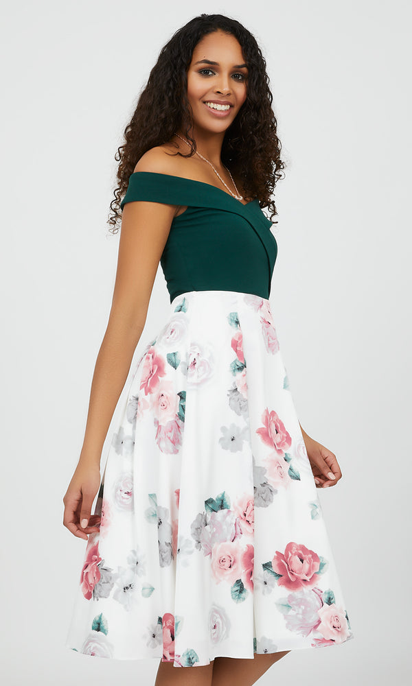 Floral Off-the-Shoulder Fit & Flare Dress