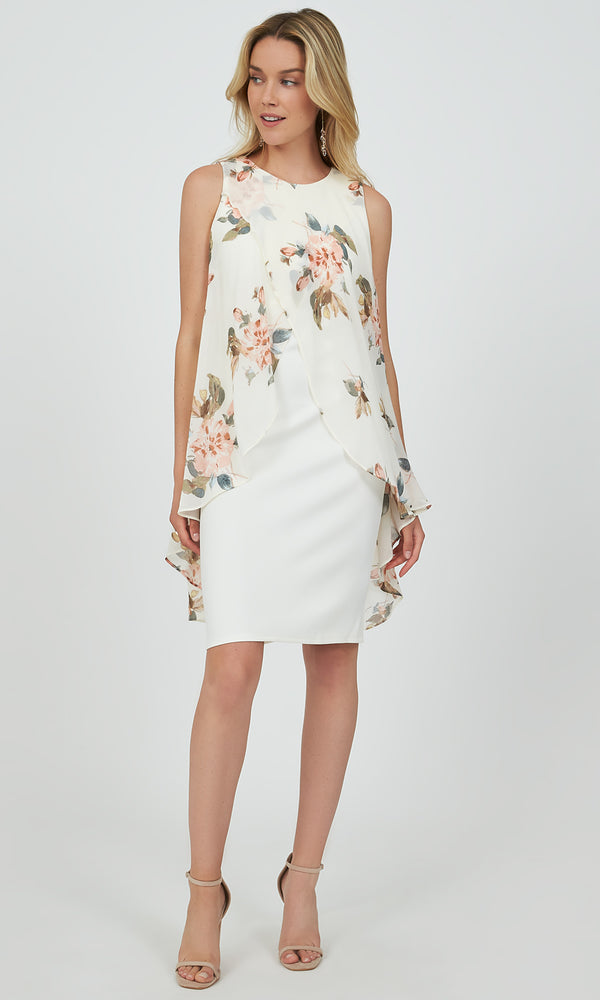 Floral Chiffon Overlay Midi Dress