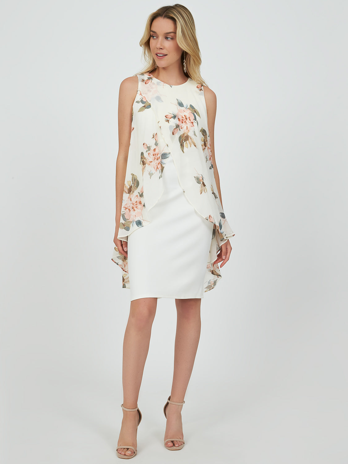 Floral Chiffon Overlay Mini Dress