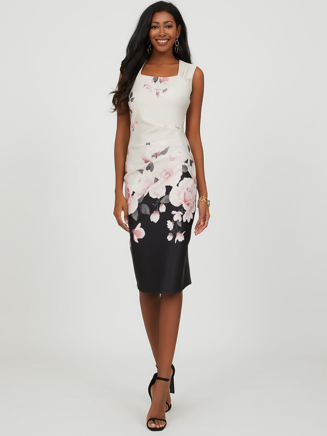 Sleeveless Floral Pleated Midi Dress