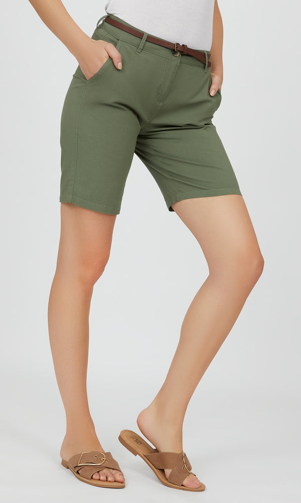Belted Bermuda Shorts