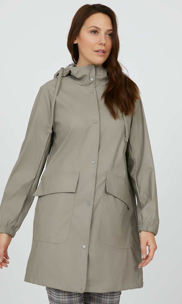Water Resistant Hooded A-line Coat