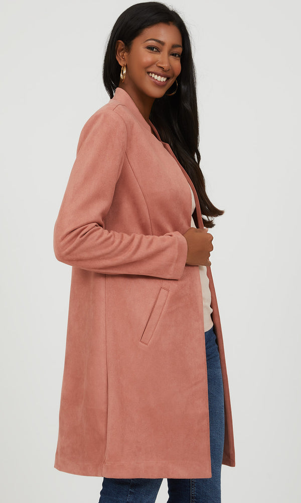 Faux Suede Car Coat
