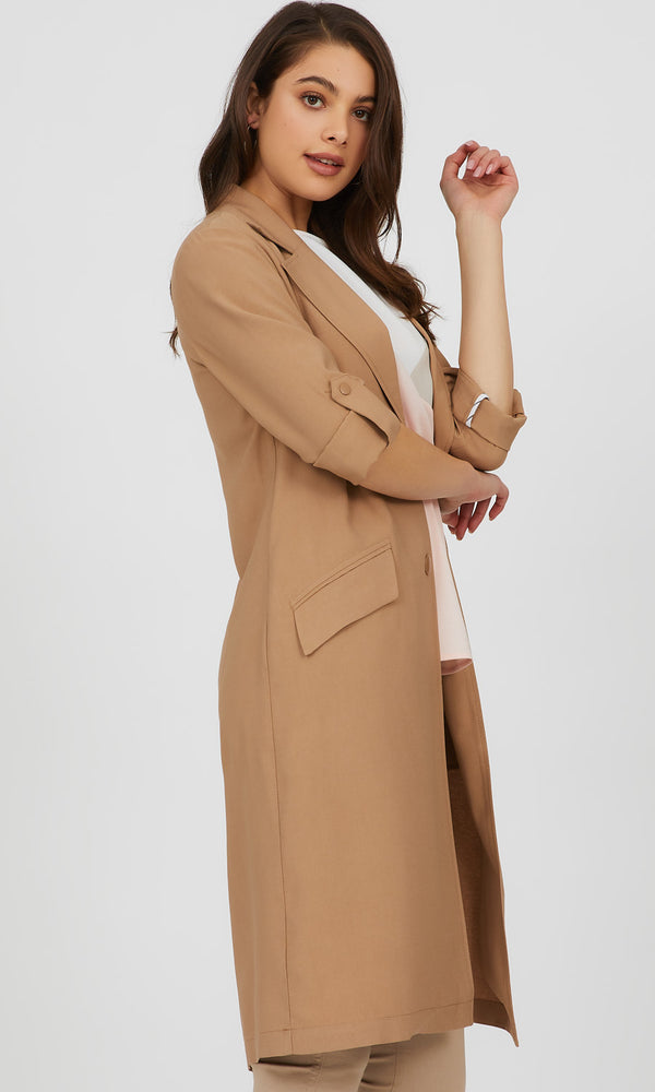 Snap Closure Long Light Jacket
