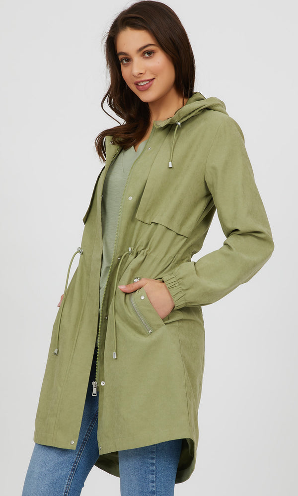 Hooded Long Microfiber Jacket
