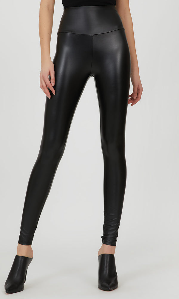 Wide Waist Faux Leather Legging