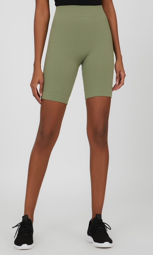 Seamless Rib Knit Biker Short
