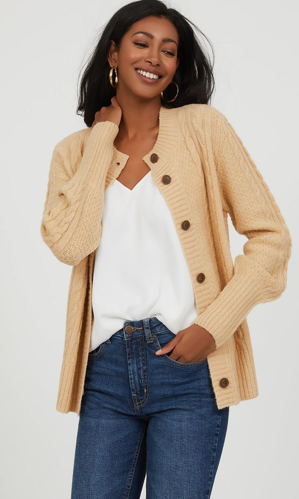 Chunky Cable Knit Cardigan Sweater