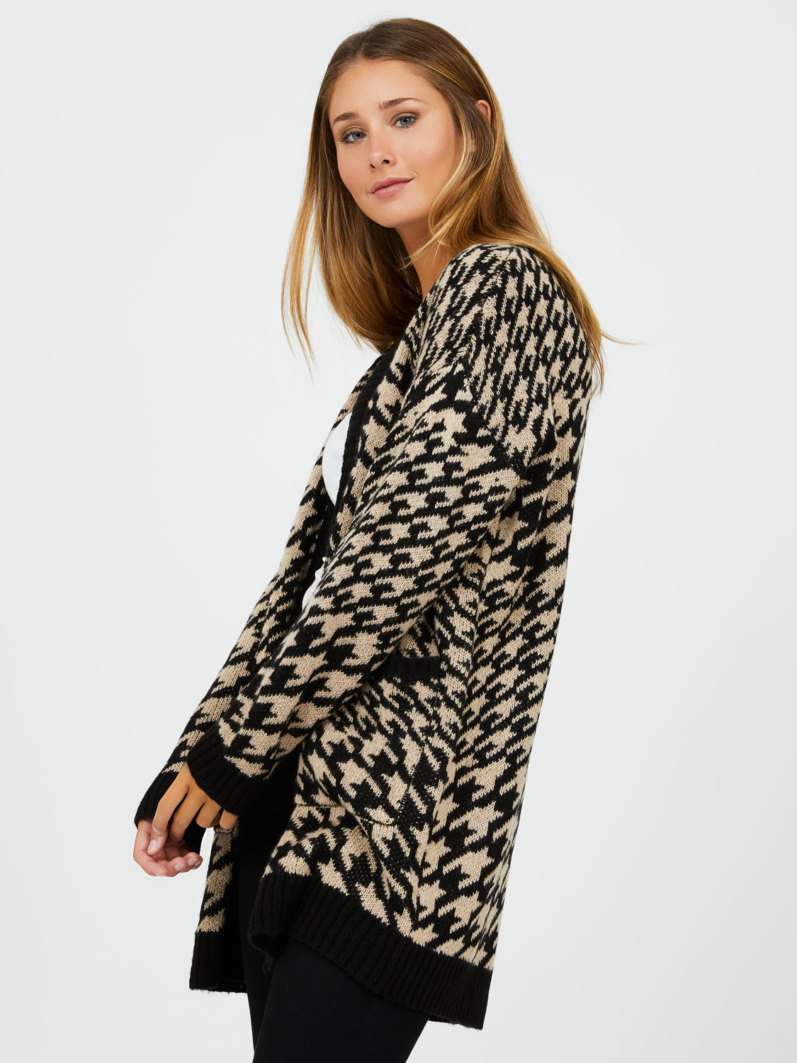 Mixed Houndstooth Check Sweater Duster