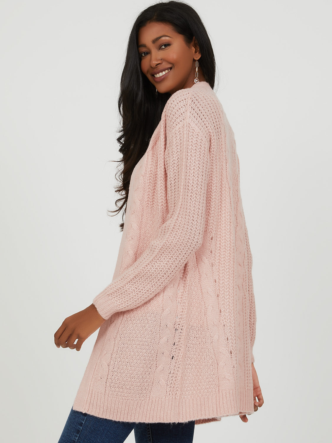 Pointelle Cable Knit Duster