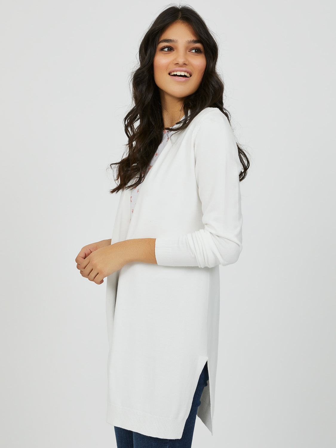 Open Front Sweater Knit Duster
