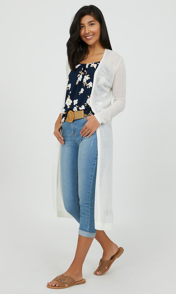 Midi Pointelle Cardigan Duster