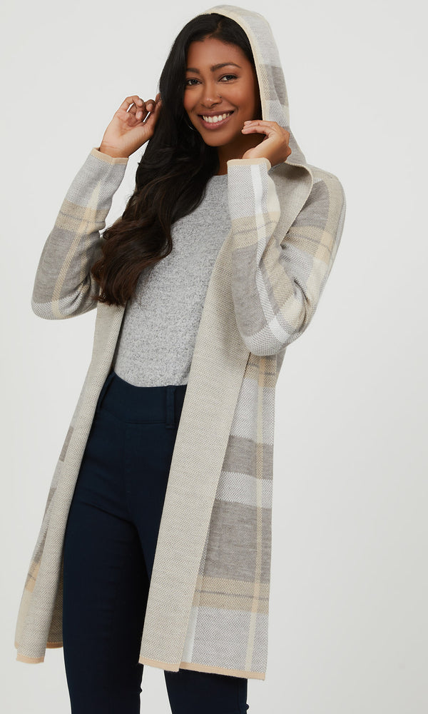 Hooded Plaid Knit Coatigan