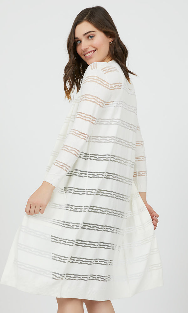 Sheer Stripes Open Front Duster