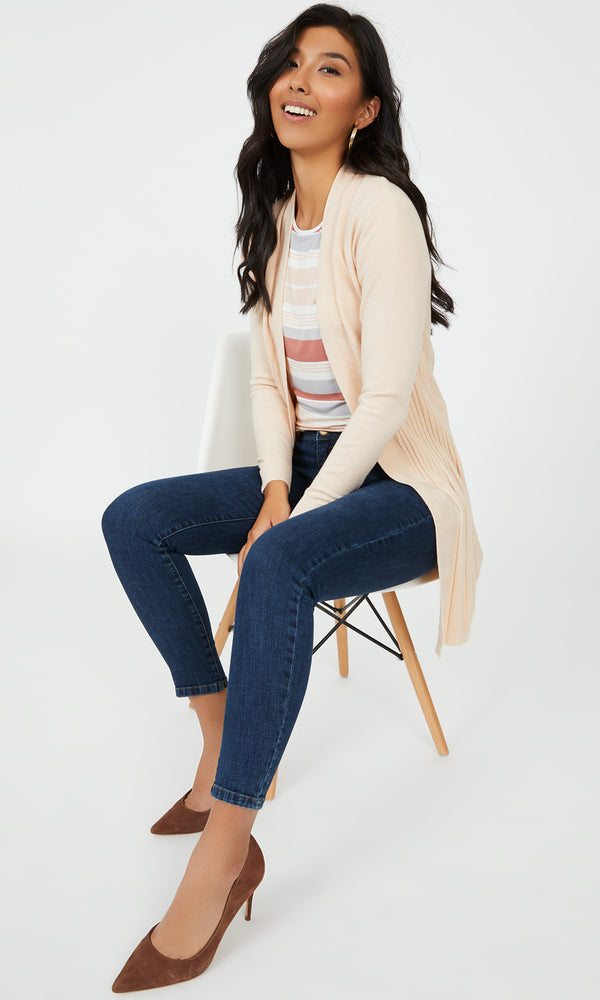 Ribbed Knee Length Sweater Duster
