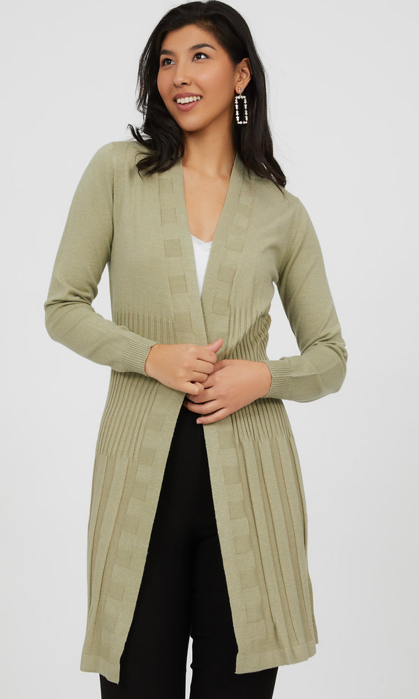 Rib Knit Open Front Duster