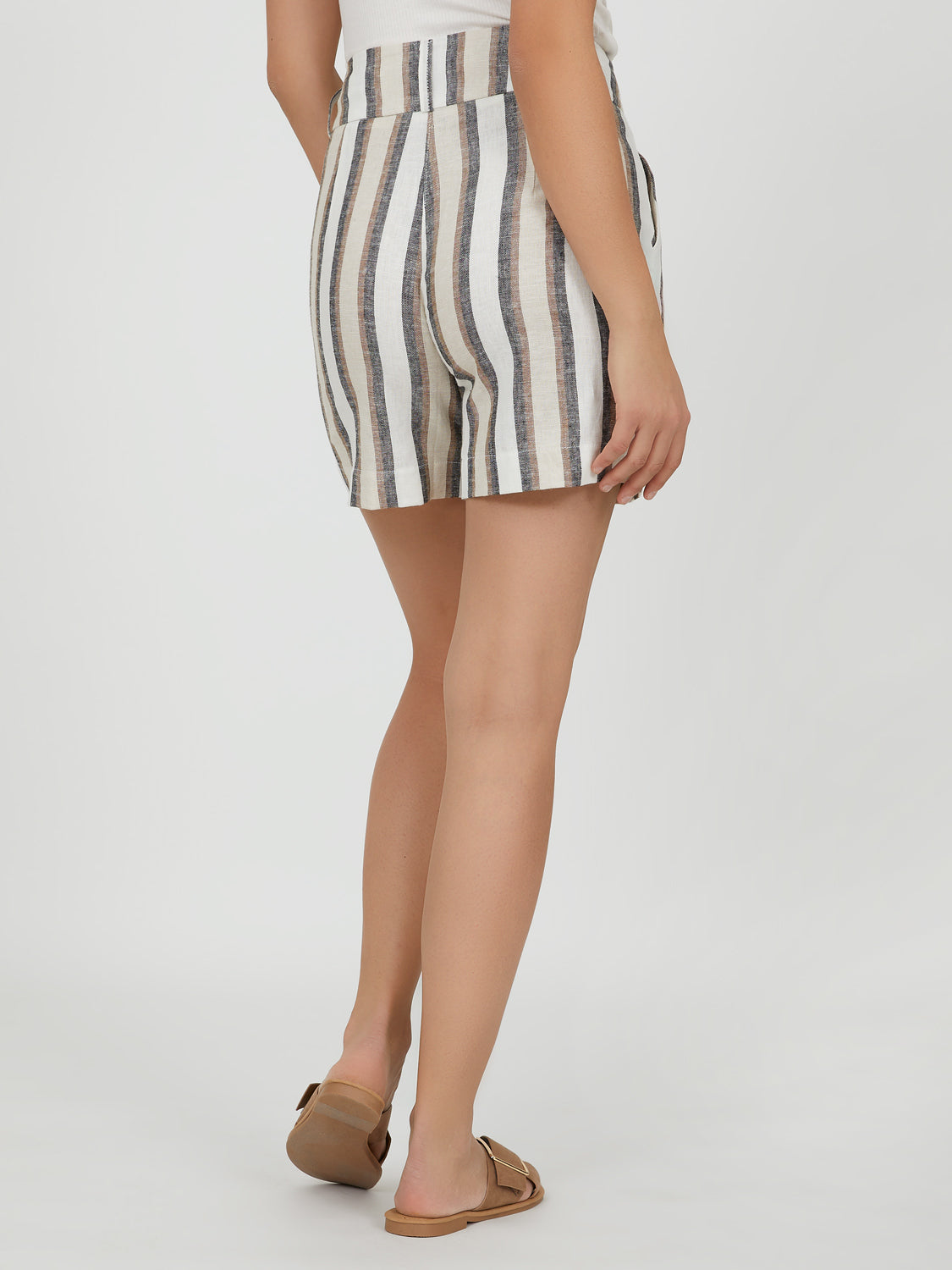 Striped High-Rise Linen Short