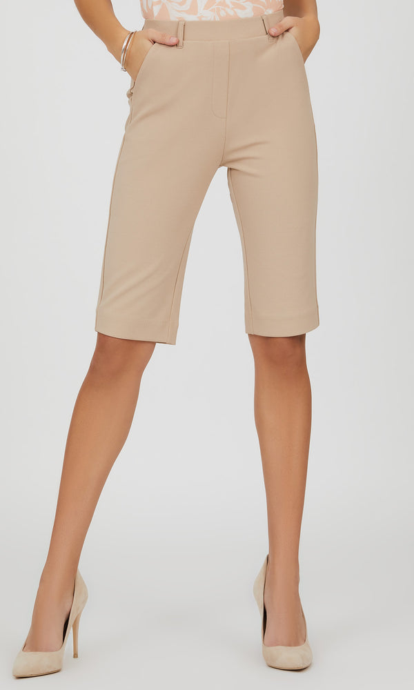 Pull-On Crepe Knit Bermuda Shorts