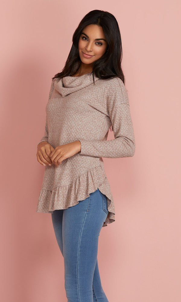Ruffled Hem Cowl Neck Sweater