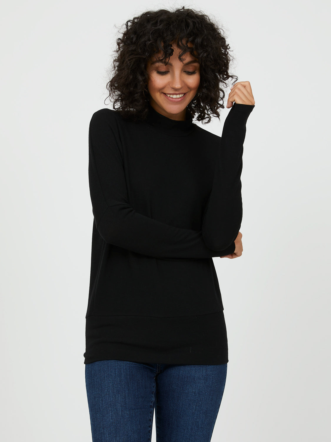 Mock Neck Sweater Knit Top