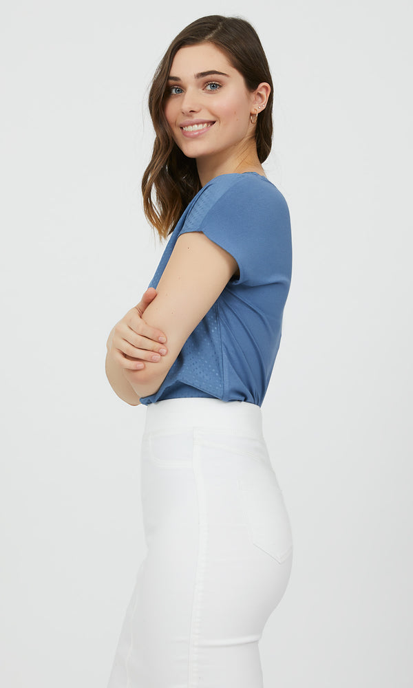 Textured Jacquard Short Sleeve Top
