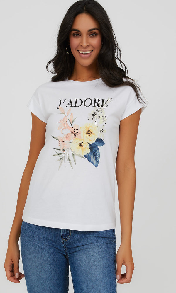Cuffed Sleeve J'Adore Organic Cotton Tee