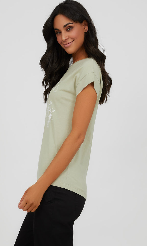 Cuffed Sleeve Organic Cotton Graphic Tee