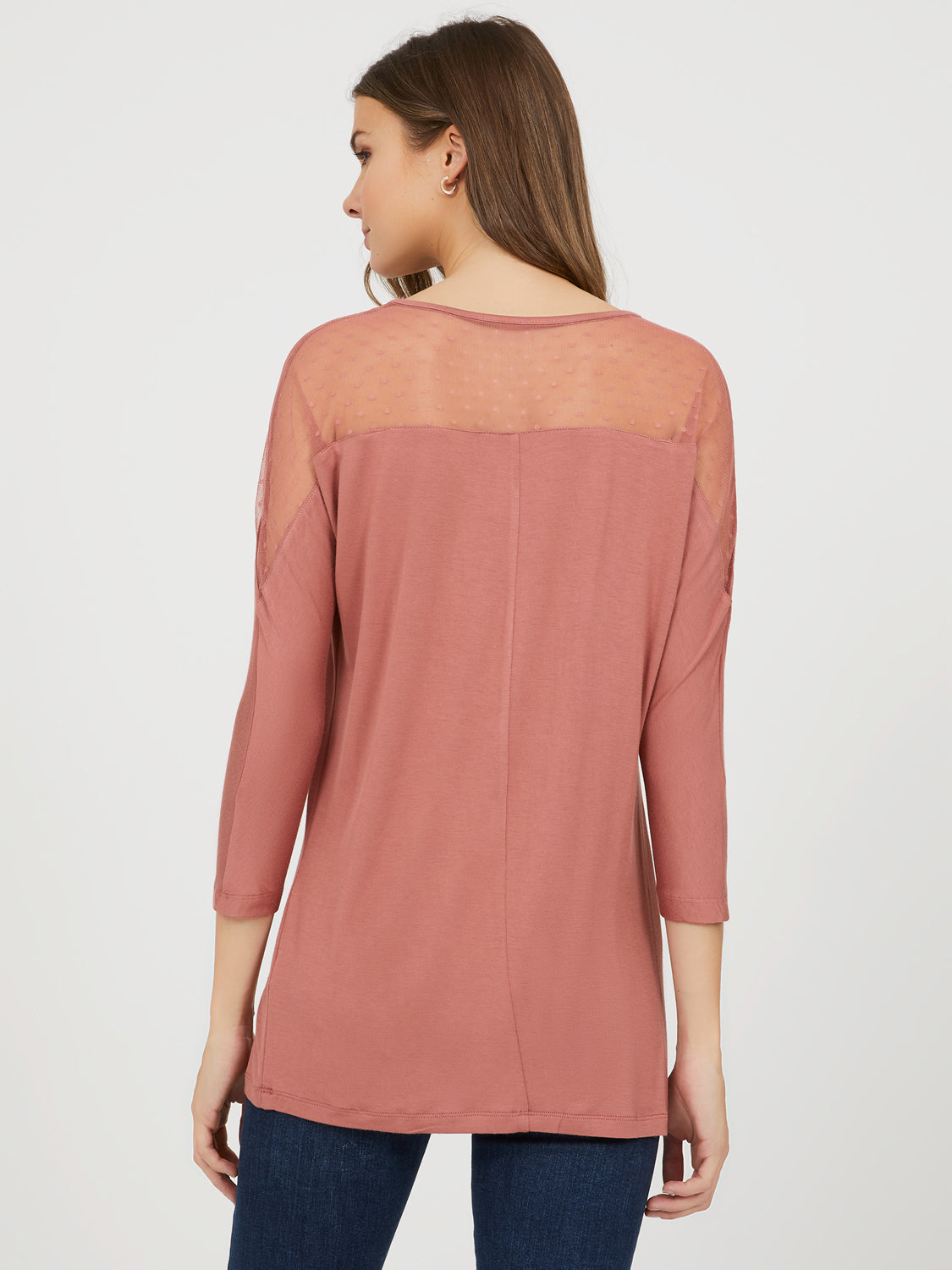 ¾ Dolman Sleeve Mesh Top