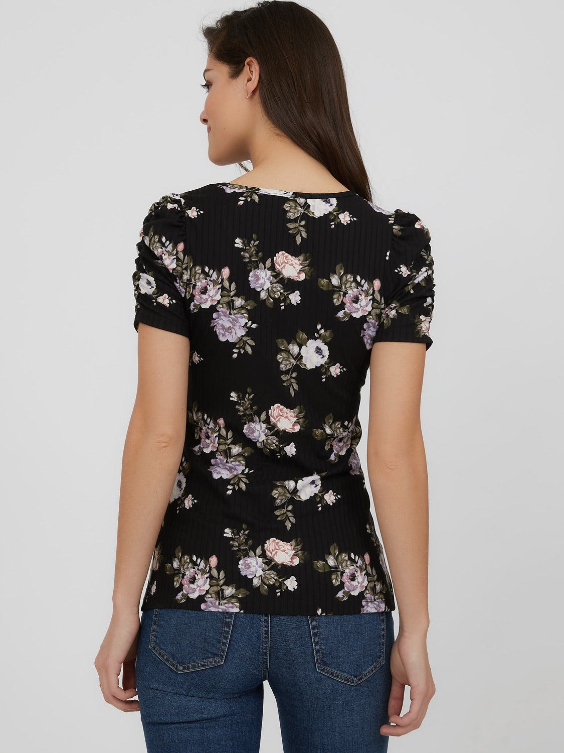 Puff Short Sleeve Rib Knit Floral Top