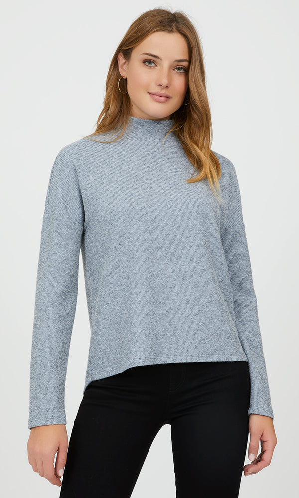 Long Sleeve Mélange Rib Knit Sweater