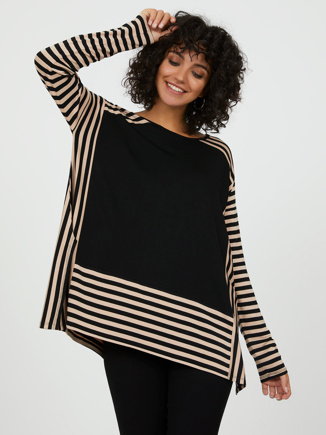 Oversized Colour Block Striped Sweater