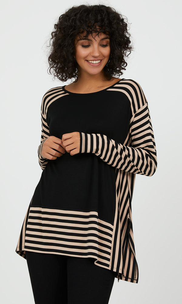 Oversized Colour Block Striped Top