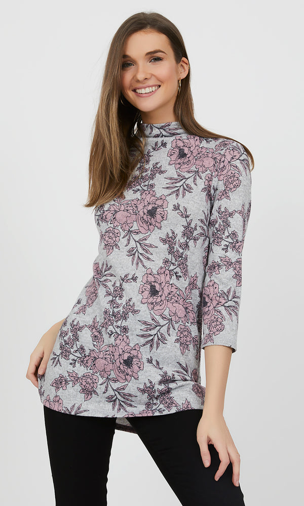 ¾ Sleeve Floral Funnel Neck Top