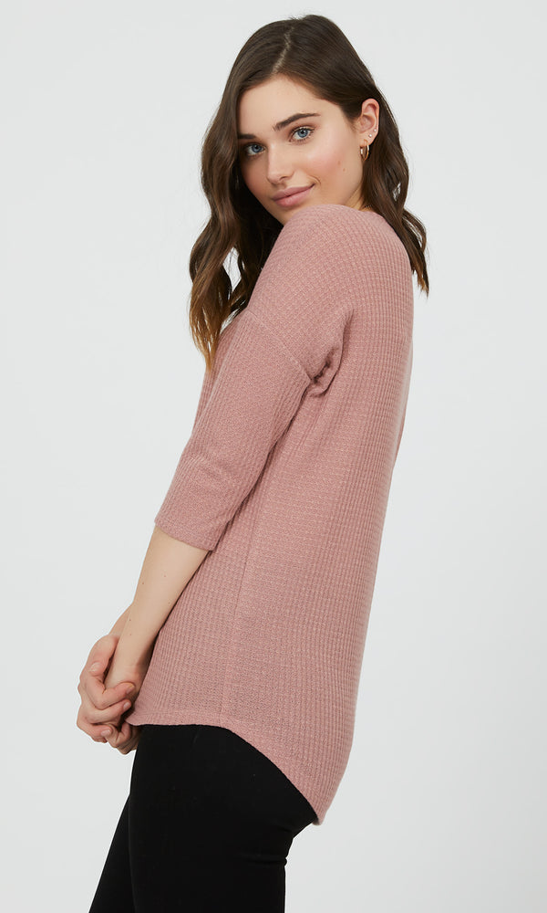 ¾ Sleeve Textured V-Neck Knit Tee