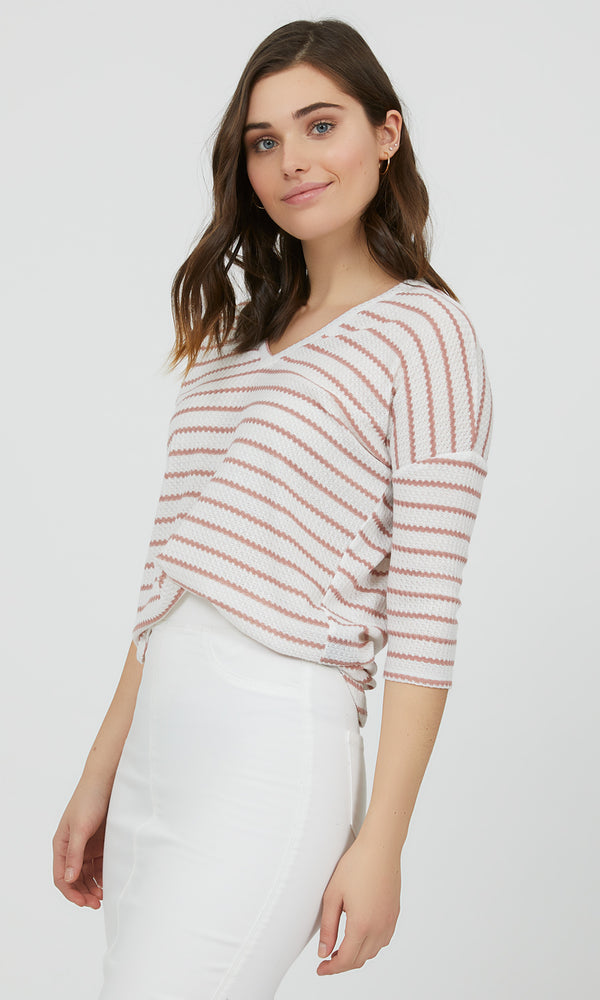 ¾ Sleeve Stripe V-Neck Knit Tee