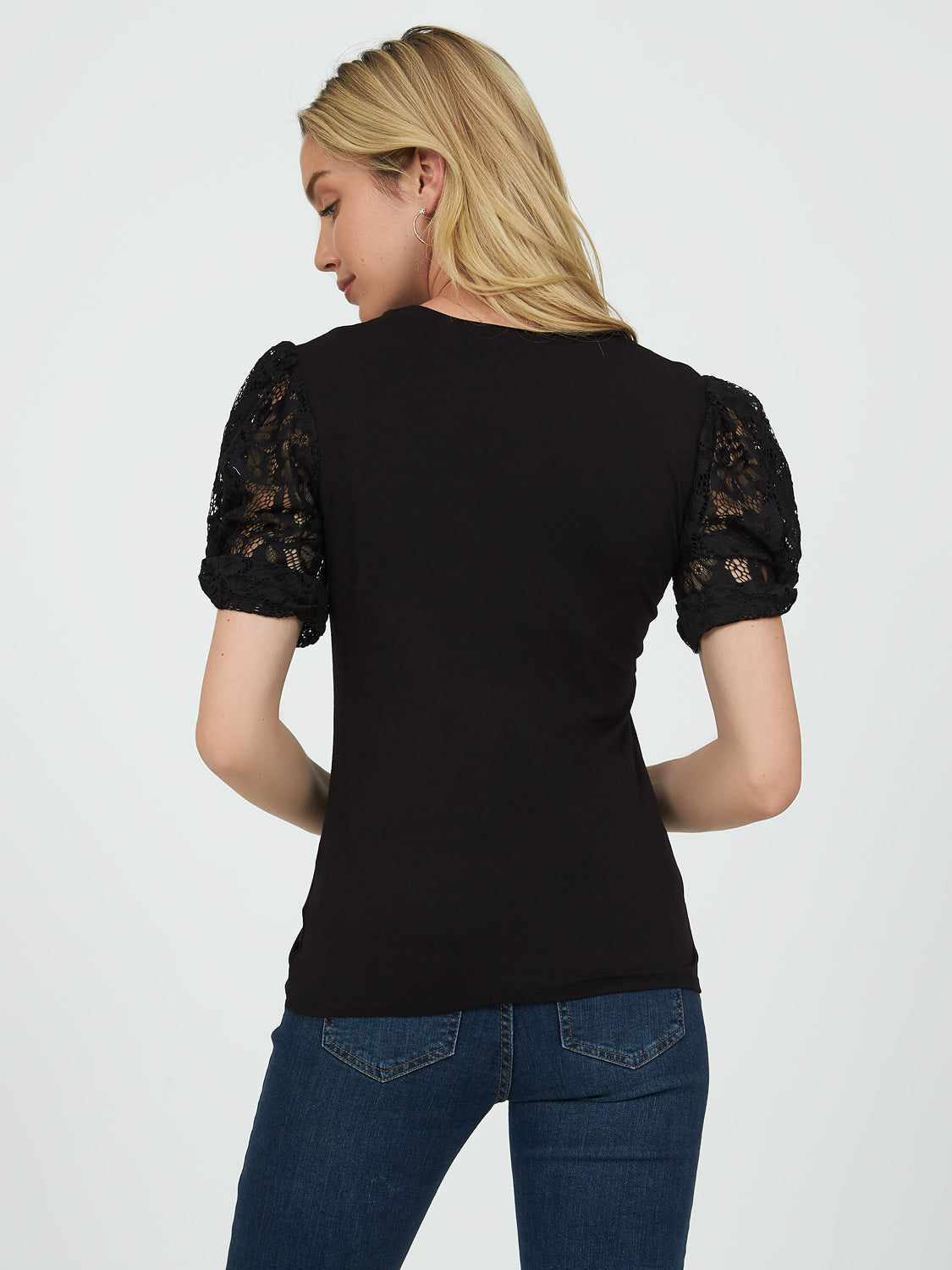 Elbow Lace Sleeve Crew Neck Top