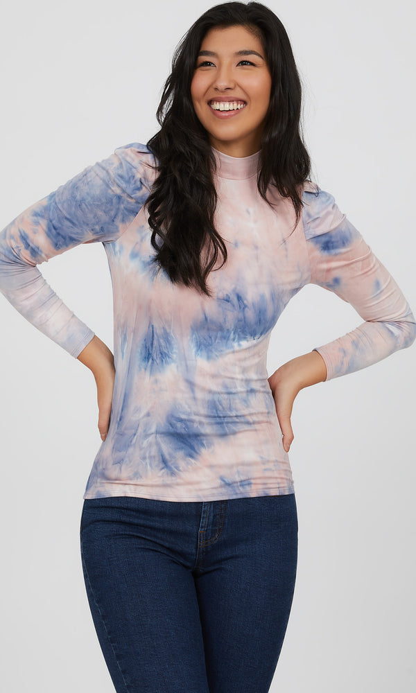 Tie-Dye Mock Neck Top
