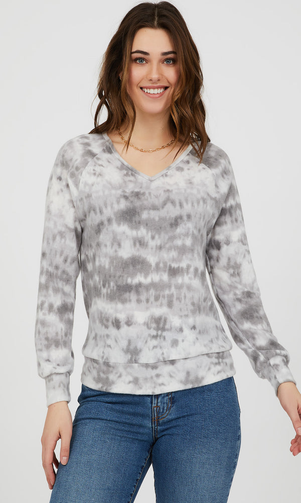 Raglan Sleeve Marble Tie-Dye Knit Top