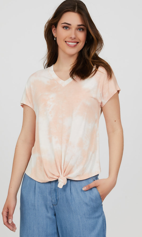 Dolman Sleeve Tie-Dye Raw Edge Top