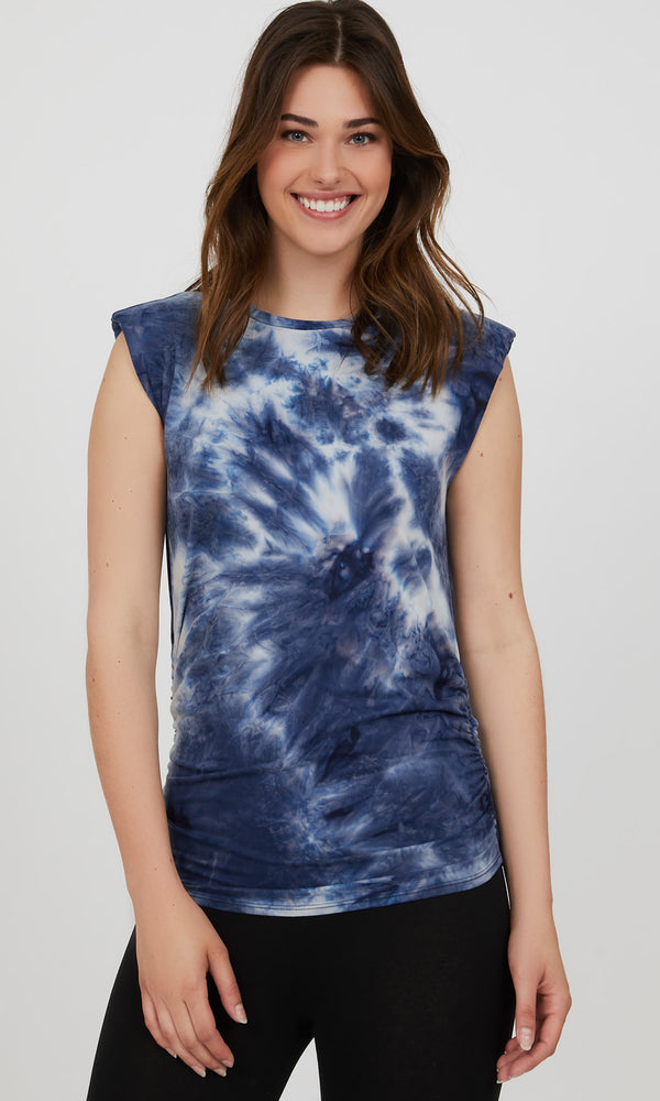 Sleeveless Shoulder Pad Tie-Dye Tee