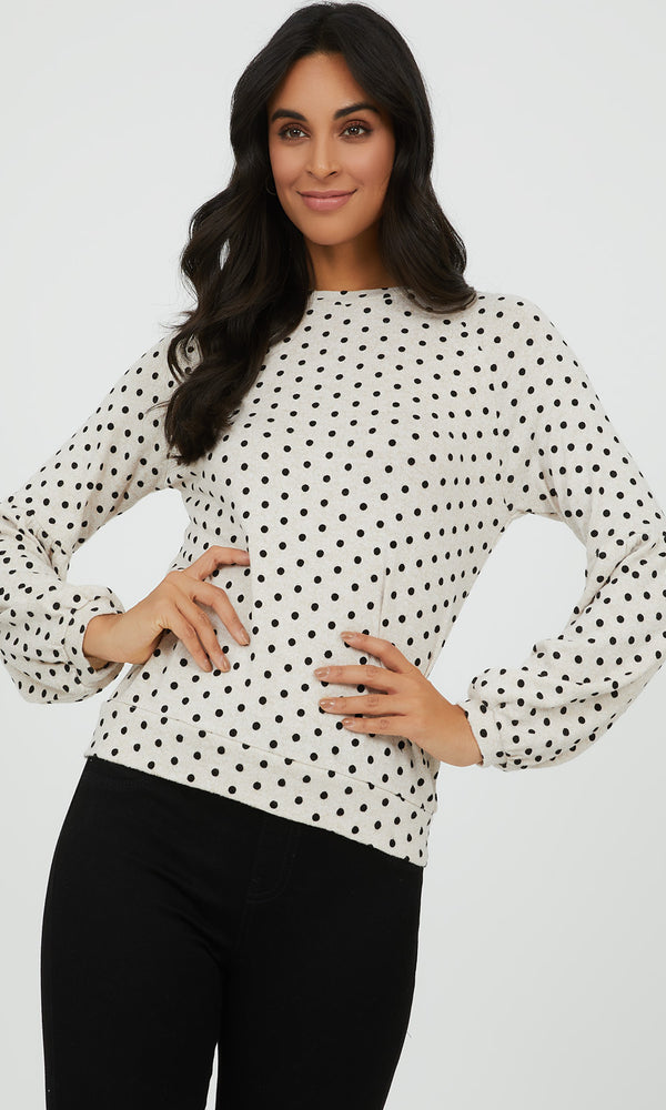 Poet Sleeve Dot Top