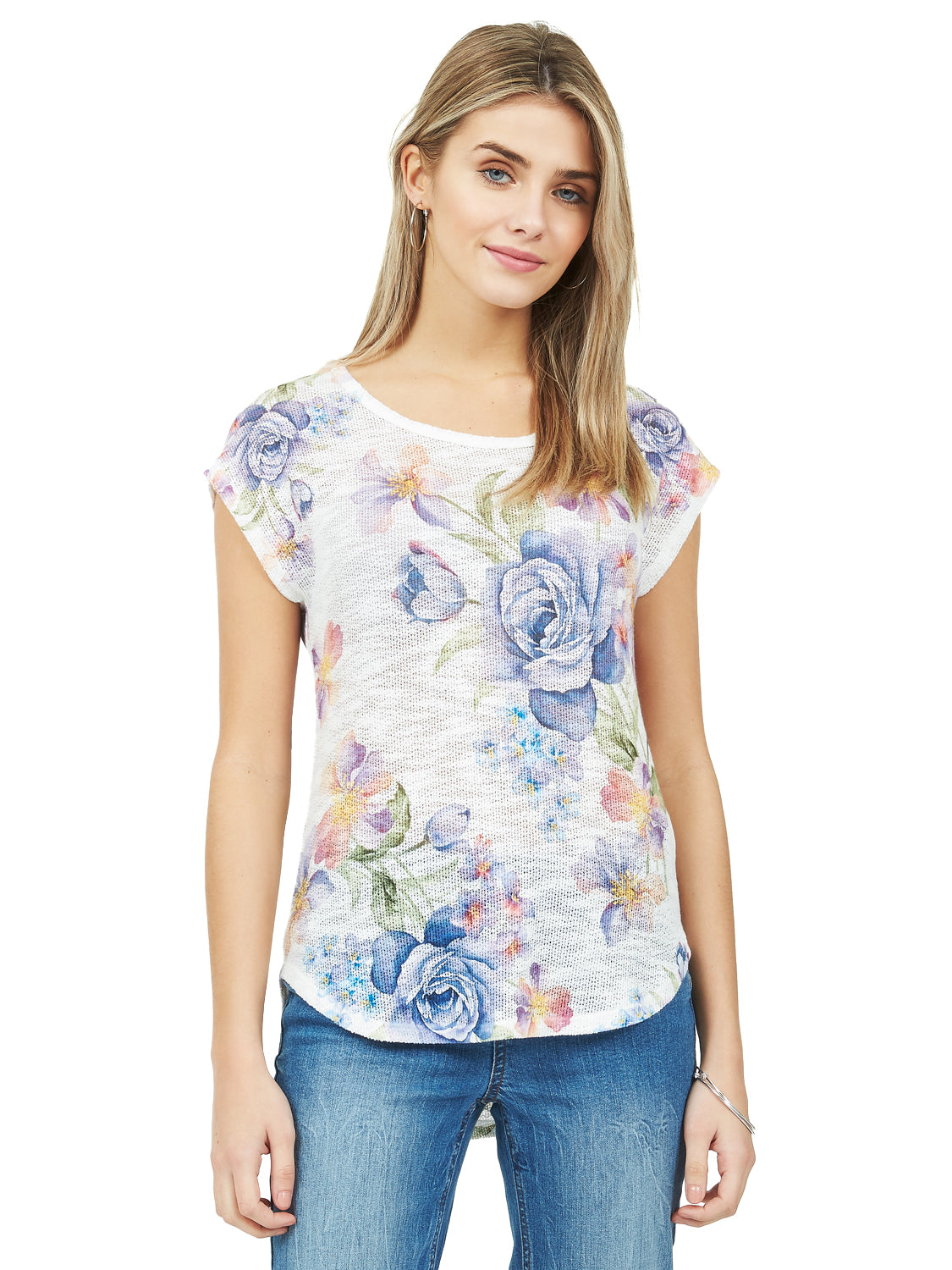 Dolman Sleeve Floral Sweater Knit Tee
