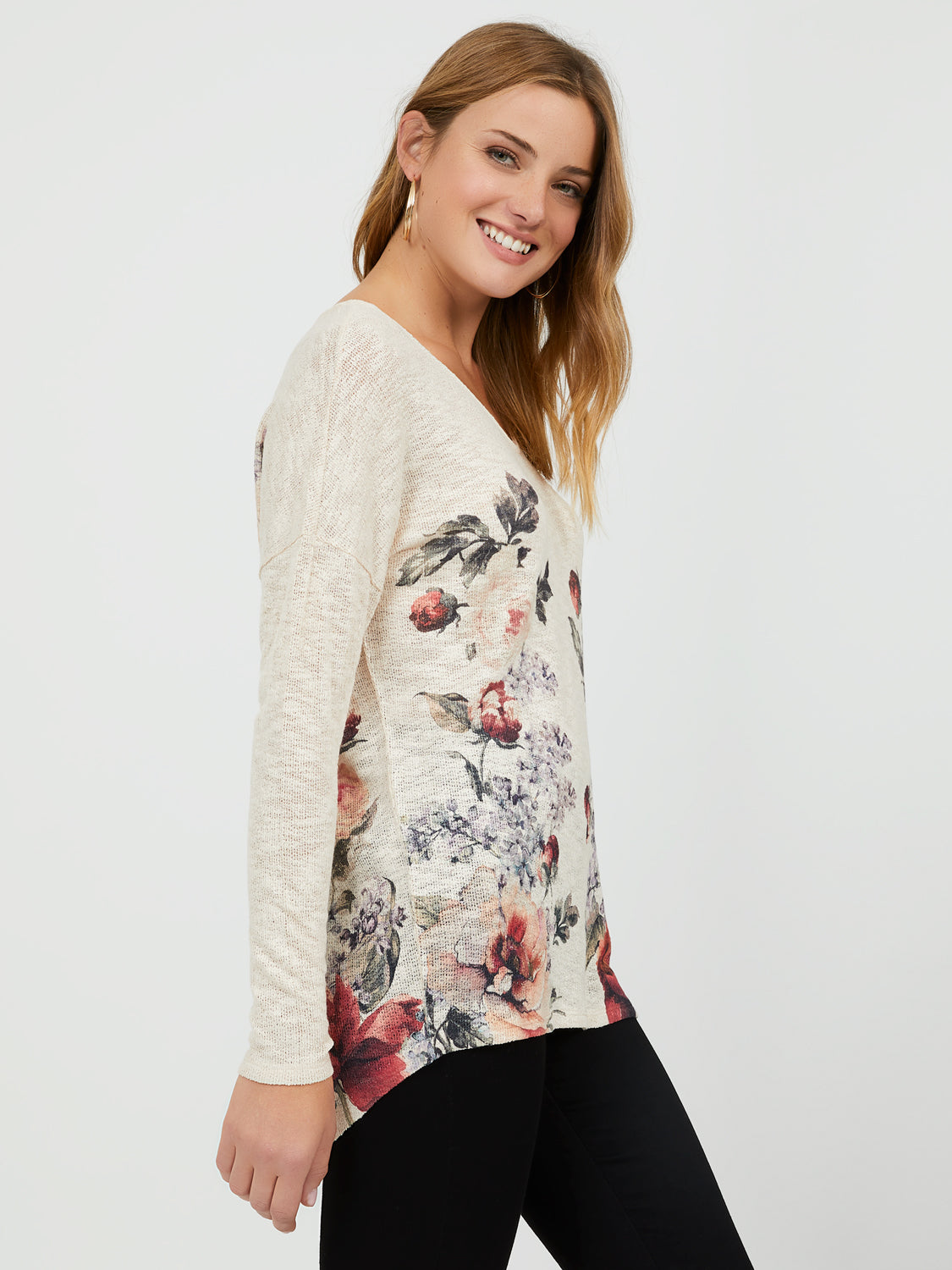 High-Low Floral V-Neck Top
