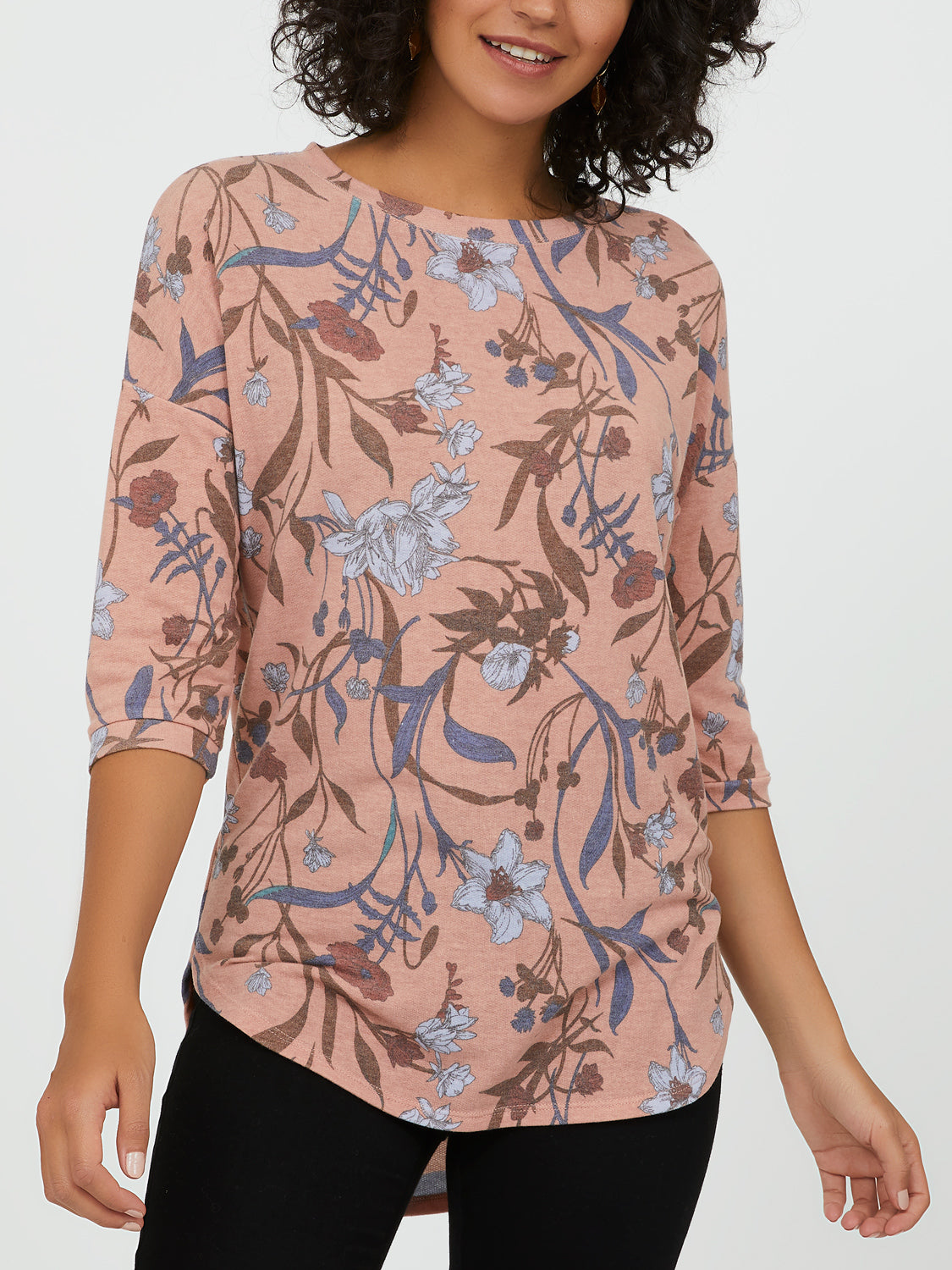 ¾ Sleeve Floral French Terry Top