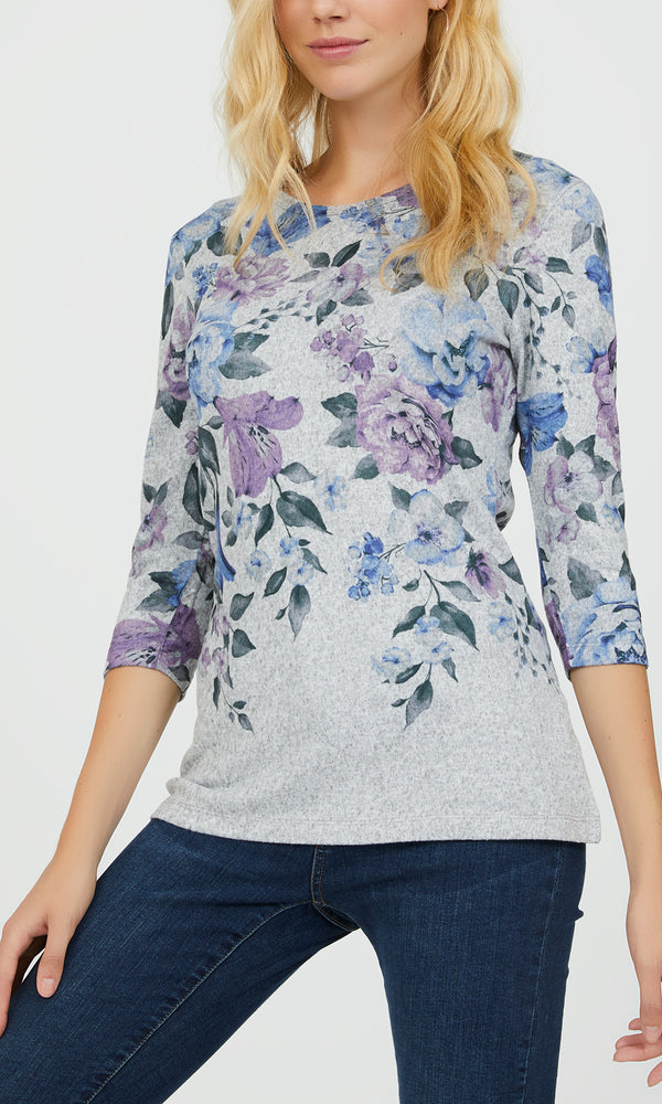 ¾ Sleeves Floral Brushed Hacci Mélange Top