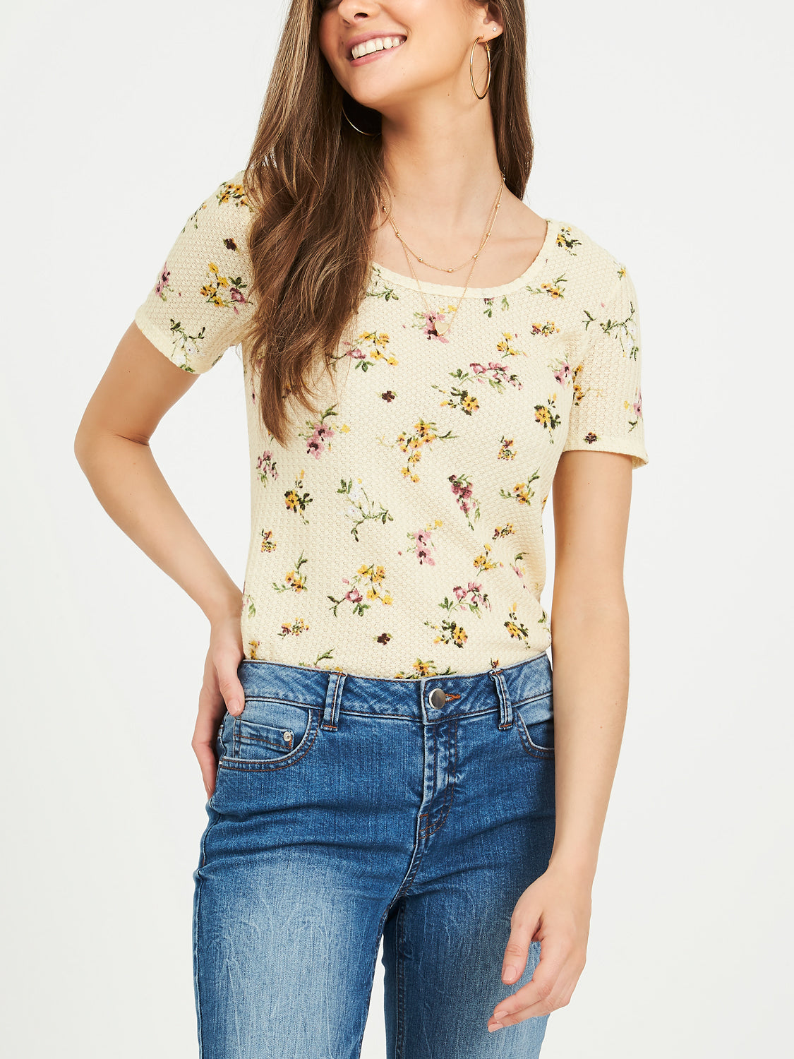Floral Square Scoop Neck Waffle Knit Tee